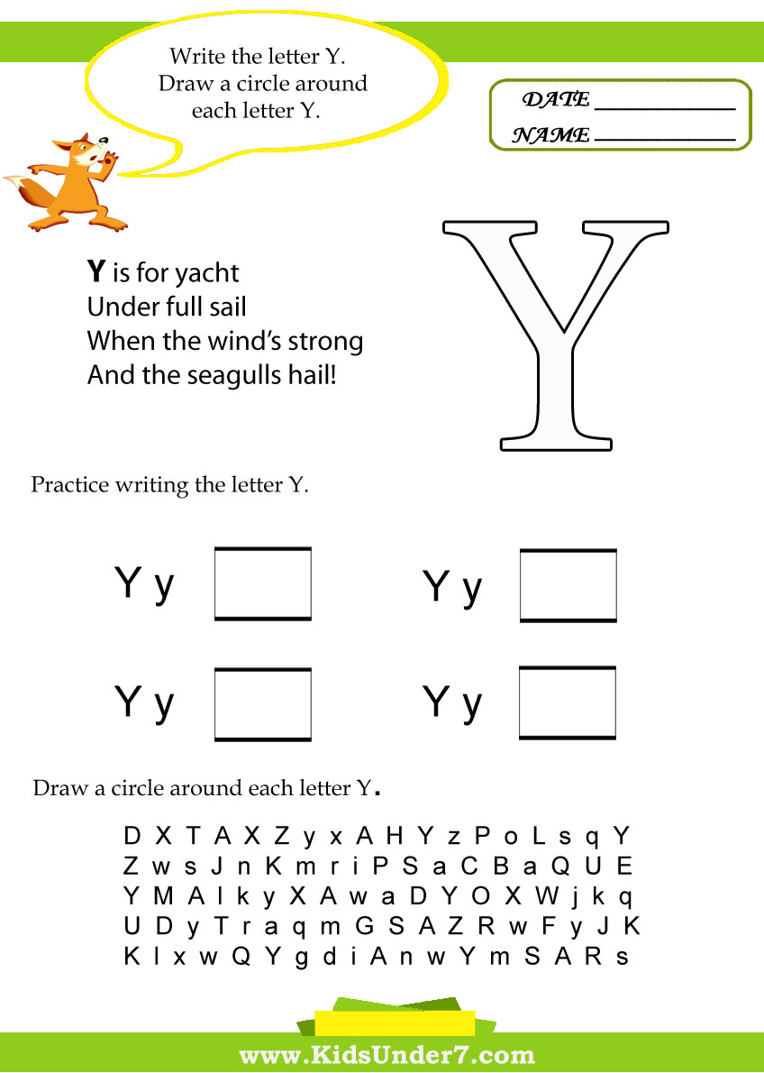 Worksheets Letter Y Worksheet kids under 7 letter y worksheets worksheets