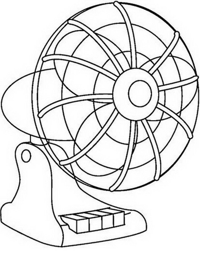 A Sketch Of A Electric Fan : Electric fan coloring page sketch