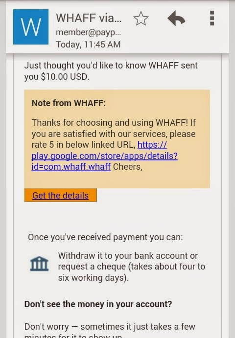 whaff rewards payment proof