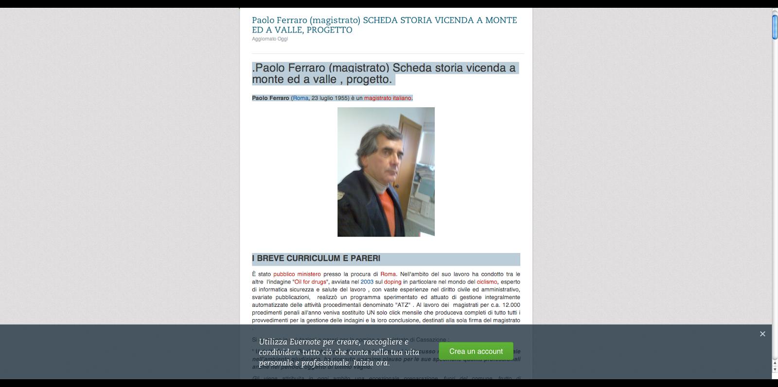 Paolo Ferraro (magistrato) SCHEDA  EVERNOTE