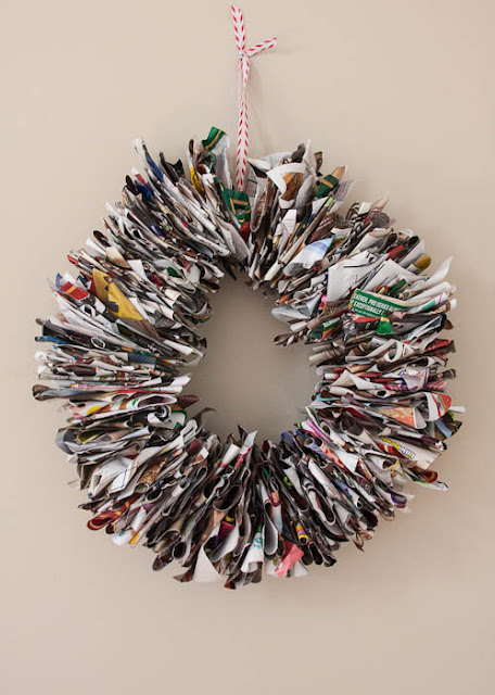 wreath made from catalog pages