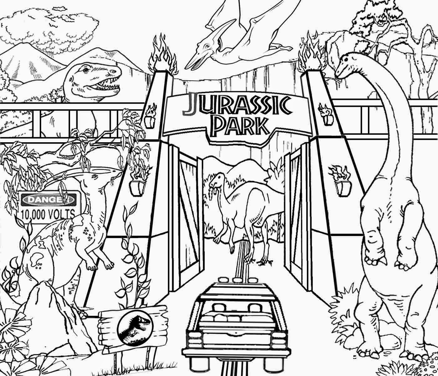 Printable Coloring Pages Jurassic World : Jurassic park coloring pages printable