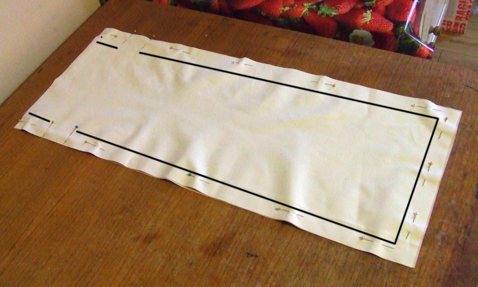 Sew the edges of the bag leaving gap for string