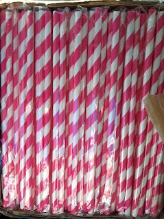 pink and white striped straws for mason jars