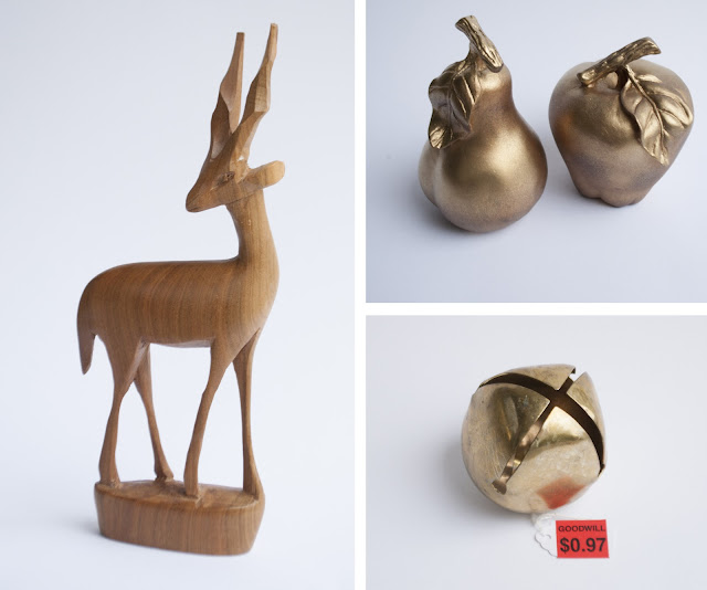 antelope, apple, pear and brass bell