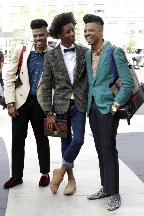 3 stylish urban black gentlemen in casual dress urban fashion gear