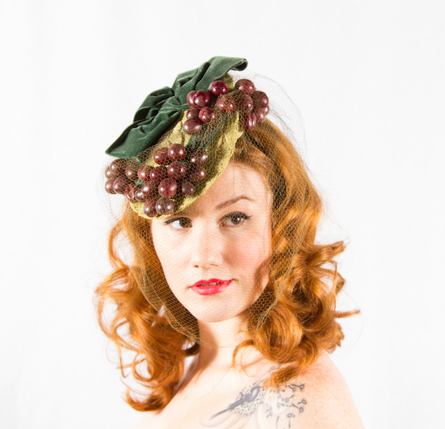1930s Clustered Cherries Hat #1930s #fashion #hat #vintage