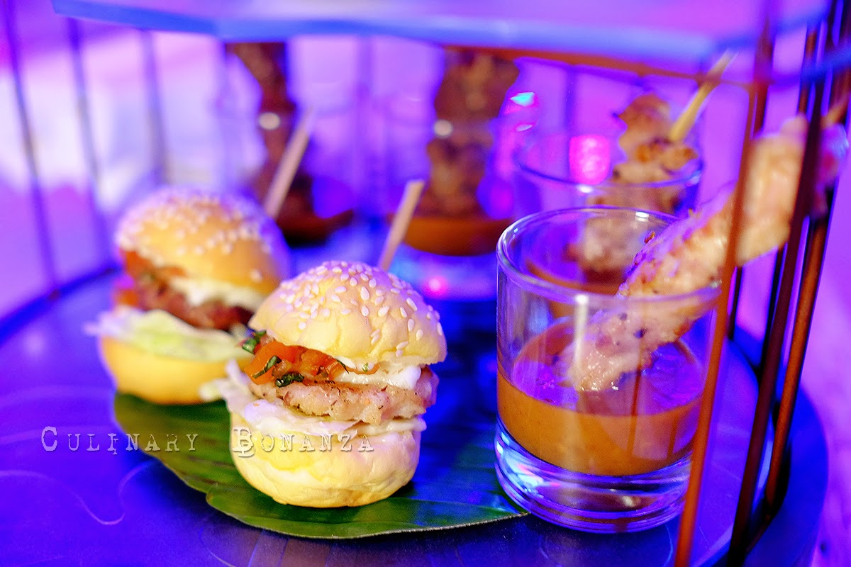 chicken & beef satay and lobster sliders