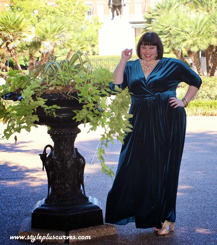 Amber of Style Plus Curves in Kiyonna Velvet Luxe Dress