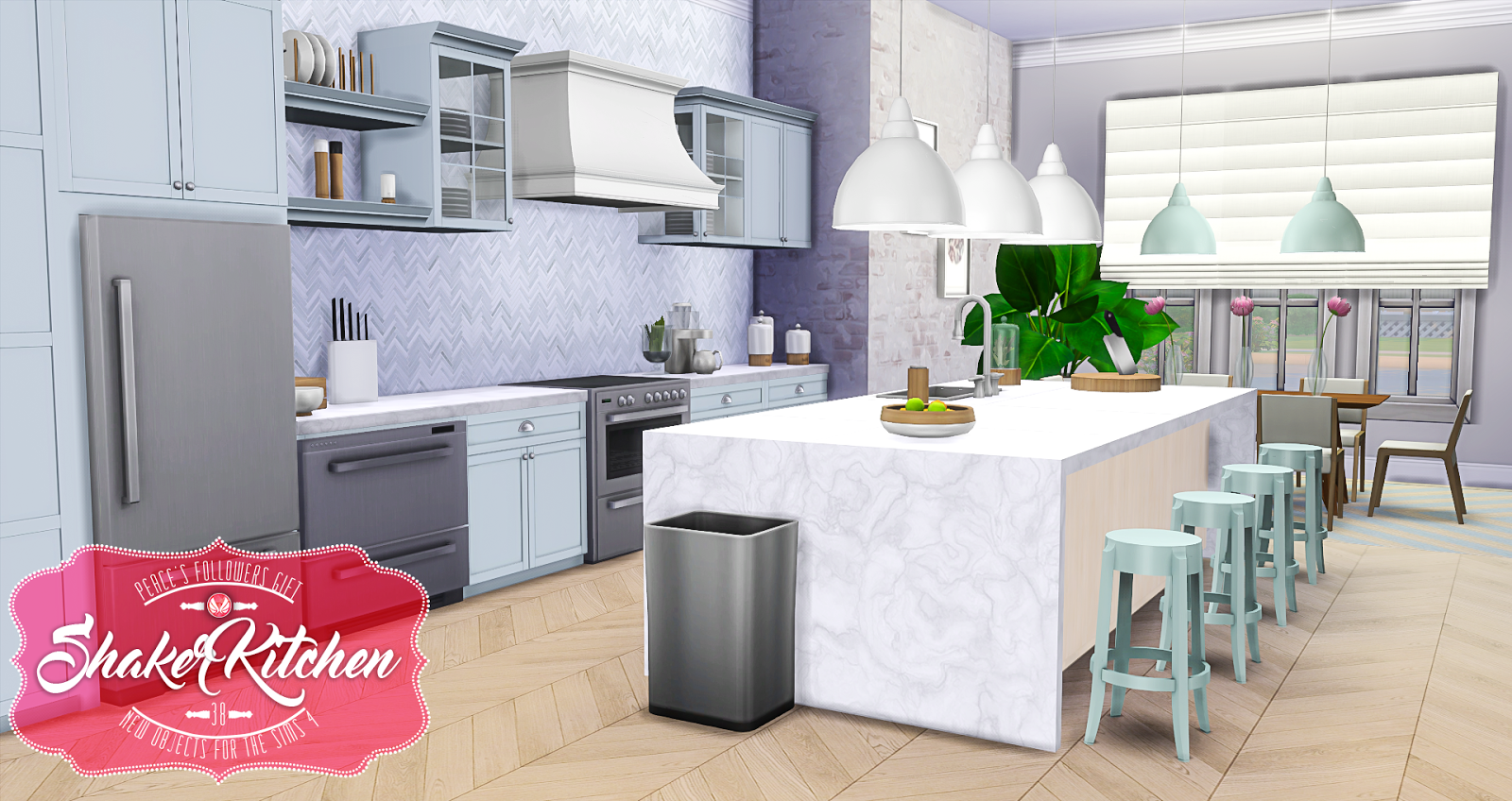 Sims 4 cc 39 s the best shaker kitchen by peacemaker ic for Kitchen set q line