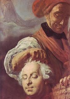 C.H. Sanson presentando al pueblo la cabeza de Luis XVI