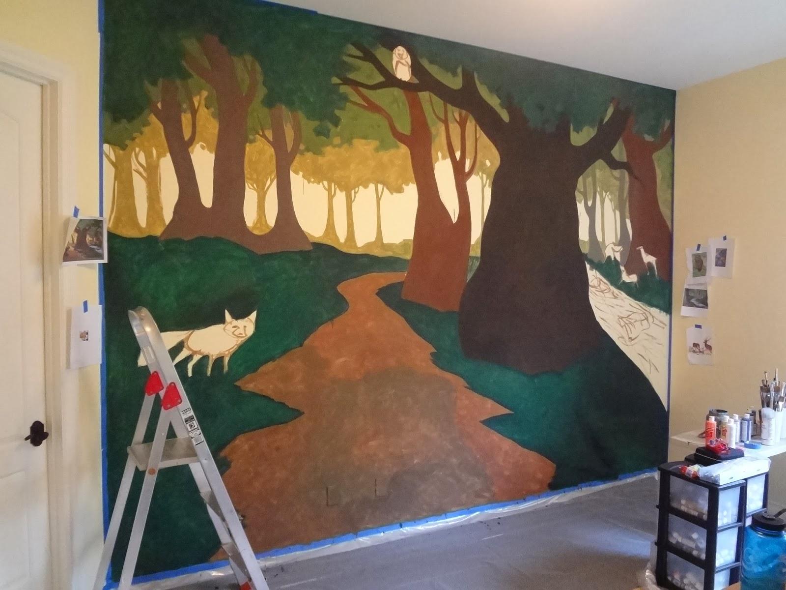 forest nursery mural, portland oregon muralist, kids room murals portland