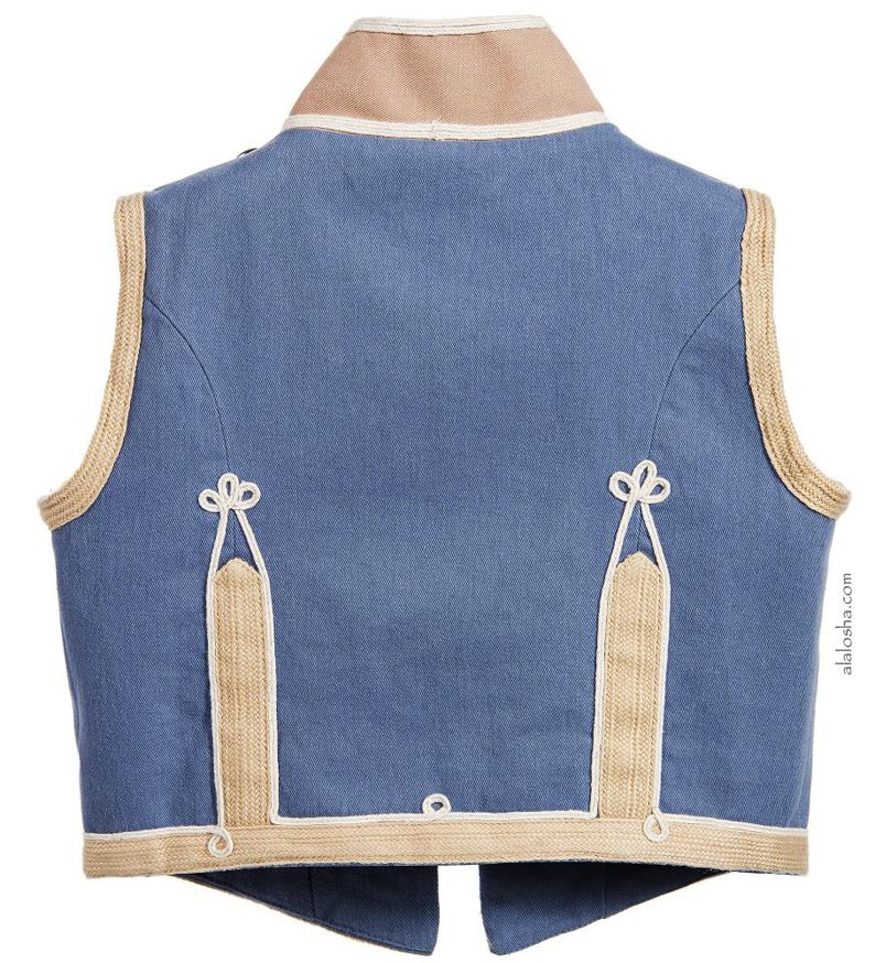 Blue & Beige 'Jay' Canvas Military Waistcoat