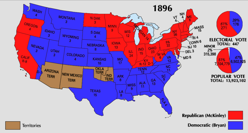 elction of 1896, map with blue and red states