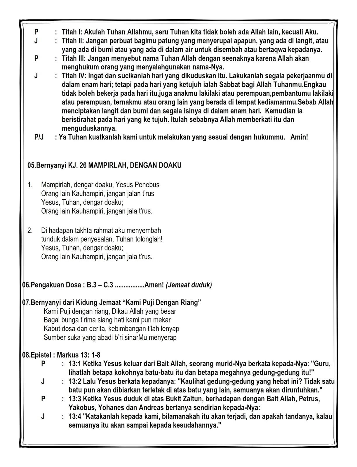 Tata Ibadah Minggu Sore 15 November 2015