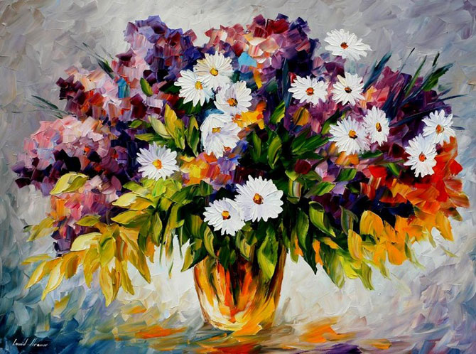 Frames and colors amazing flower paintings by leonid afremov for Pretty flower paintings