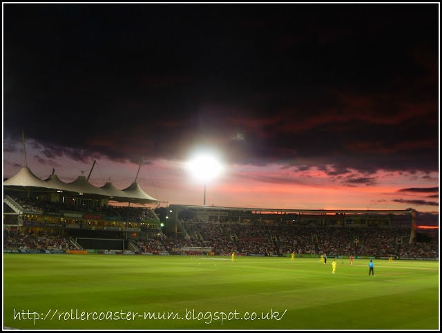 Sunset at Rosebowl, Southampton IT20 cricket England v Australia