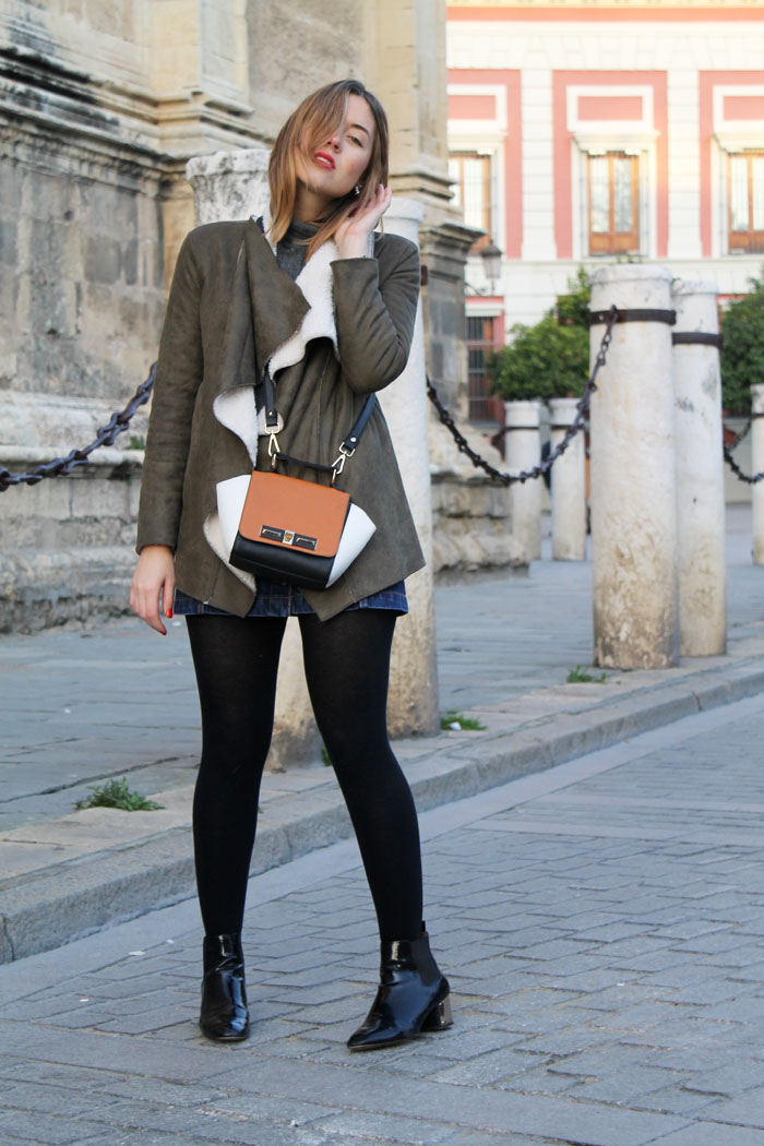 khaki green draped jacket