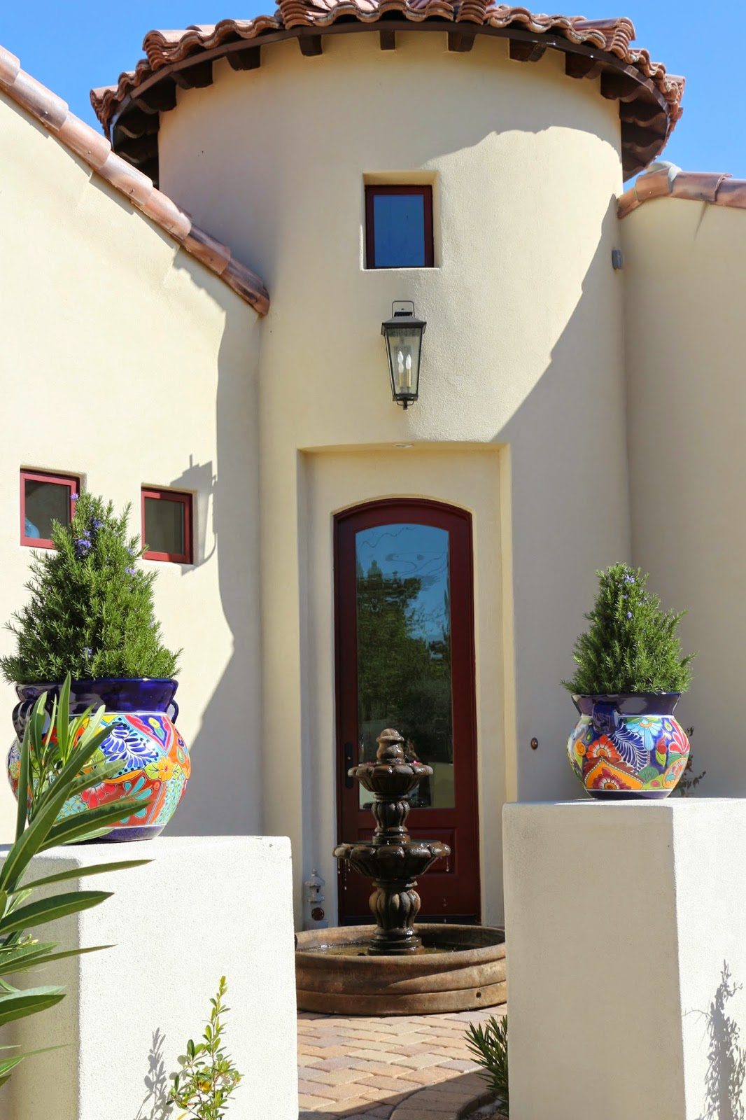 spanish style house, spanish fountain, al's espana fountain, espana fountain, garden fountain, talavera pottery, turret, spanish colonial architecture, spanish architecture