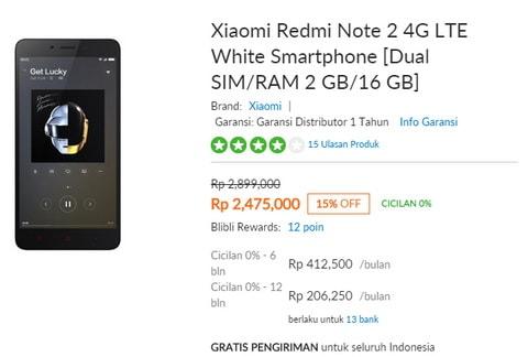 Belanja murah Xiaomi Redmi Note 2 di blibli.com