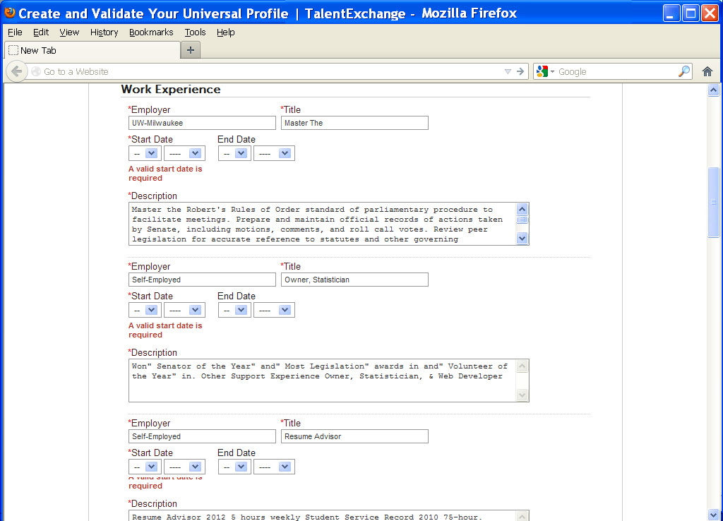 absurd vacancies taleo universal applicant tracking
