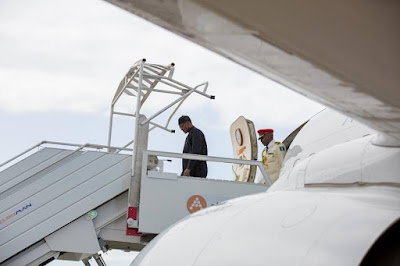 Pictures of Buhari arrival in France for official visit.