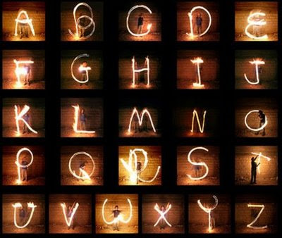 Graffiti fonts created with light