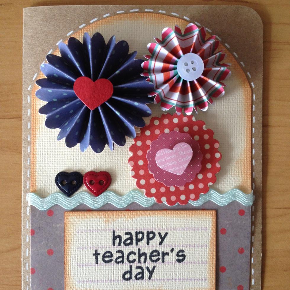 Открытку своими руками на день рождения учителю