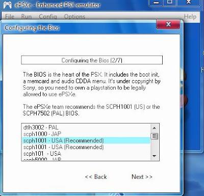 ... umum SCPH1001.BIN , setelah itu pilih next. Konfigurasi BIOS selesai