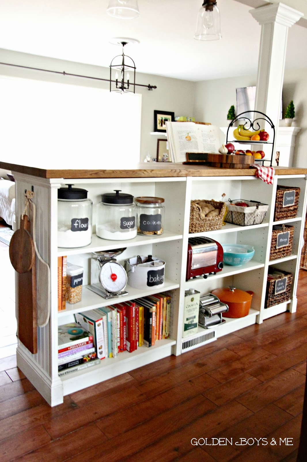 Ikea Hack Billy Bookshelves Kitchen Island Storage with butcher block and  bead board-www.