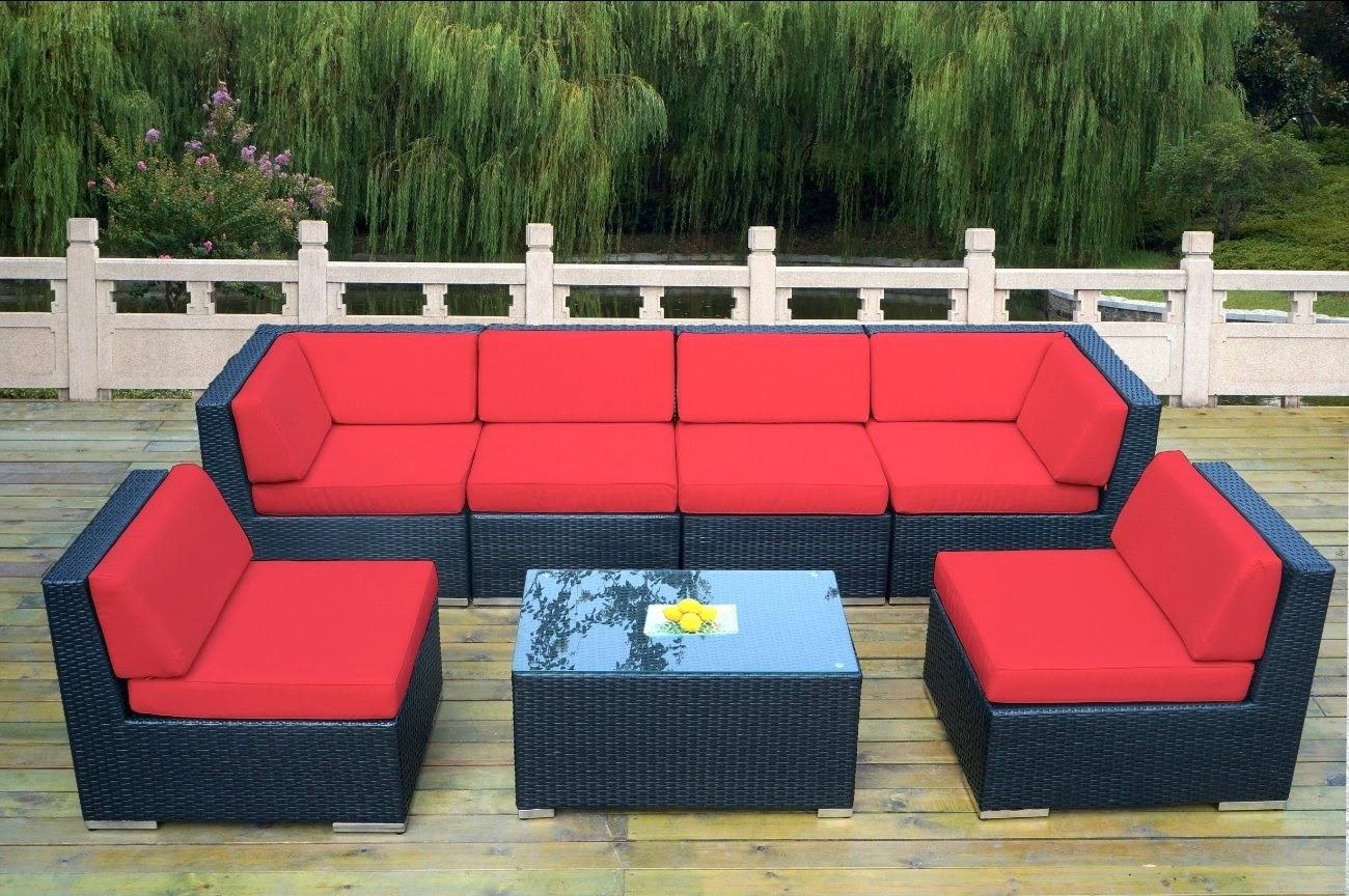 Ohana Collection Outdoor Patio Wicker Furniture 7 Piece All Weather Gorgeous Couch Set