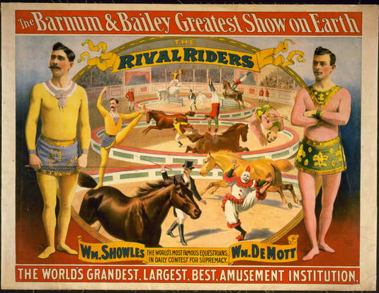 circus, vintage, vintage posters, free download, graphic design, retro prints, classic posters,The Barnum & Bailey Greatest Show on Earth: The Rival Riders - Vintage Circus Poster