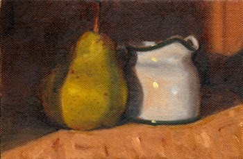 Oil painting of a green pear beside a white porcelain milk jug.