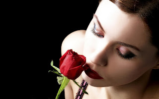 Beautiful Girl Red Lips And Rose Romantic HD Love Wallpaper