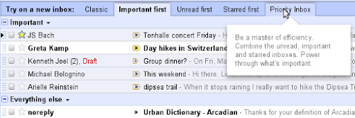 Gmail's example of new inbox style