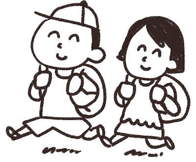 遠足のイラスト「男の子と女の子」 白黒線画