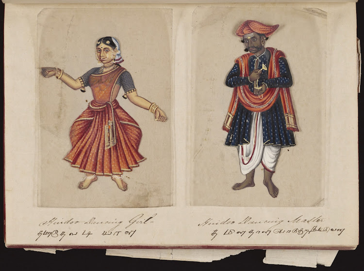 Hindoo dancing girl and Hindoo dancing master