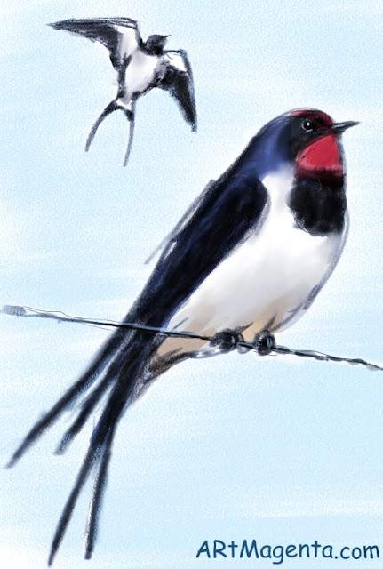 Ladusvala är en fågelmålning av Artmagenta