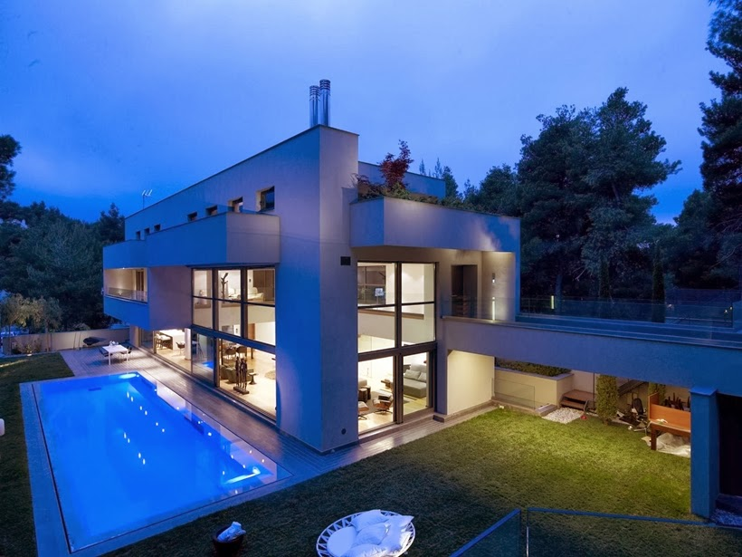 Modern Mansion in Dionysos at night