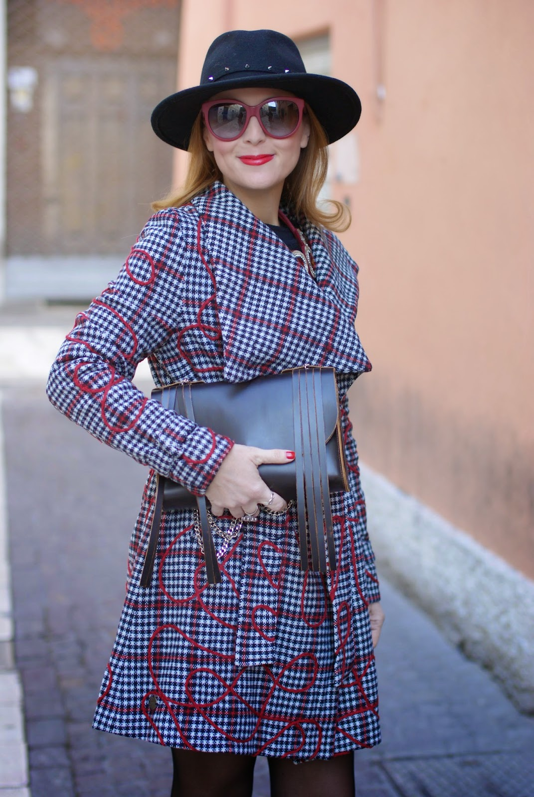 Smash! Moneton tartan jacket worn with Studded fedora hat and Olivia Pope Accessory New York bag, Fashion and Cookies, fashion blogger