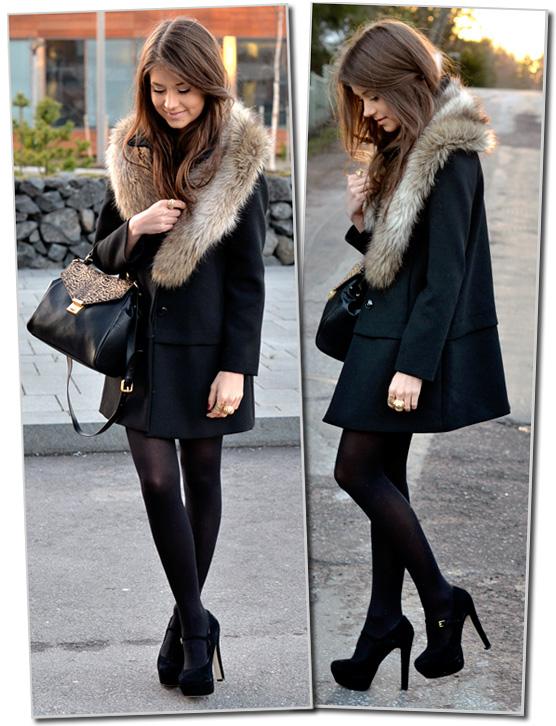 Abrigo negro pelo cuello