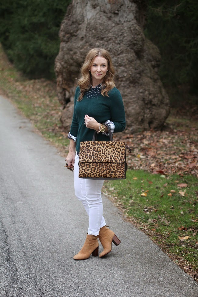 rails plaid shirt via piperlime, old navy white jeans, tory burch booties, jcrew factory sweater, boden handbag