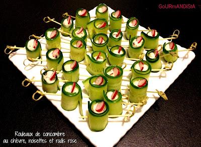 image Rouleaux de concombre au chèvre, noisettes et radis