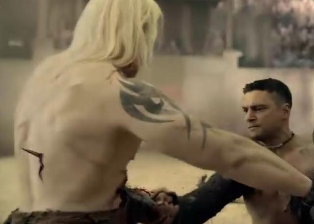 Crixus versus Theokoles, Crixo, Theokoles, gladiadores Spartacus