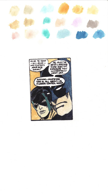 The Caped Crusaders Discover International Terrorism, trompe l'oeil watercolors on paper, 3x2 inches.