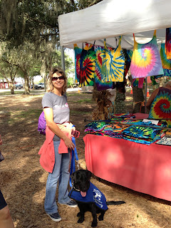 Melisa and Bo at the tie dye stand.
