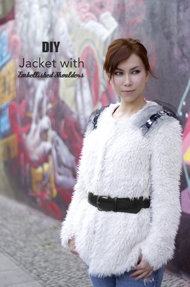 DIY Faux Fur Jacket with Embellished Shoulders. (via www.fashionrolla.com)