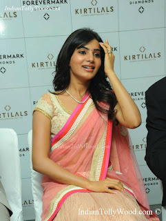 Samantha Ruth Prabhu Latest Cute Pink Half Saree Photos Pics