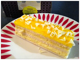 Lemon and White Chocolate Cake Slice