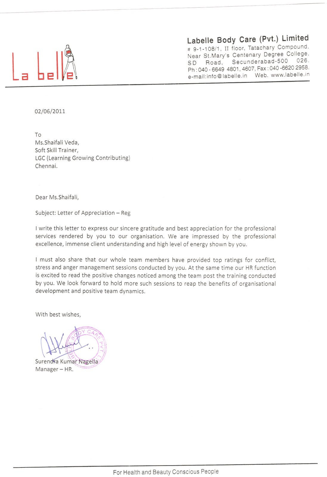 Appreciation Letter By Labelle Body Care Pvt Limited Where Each